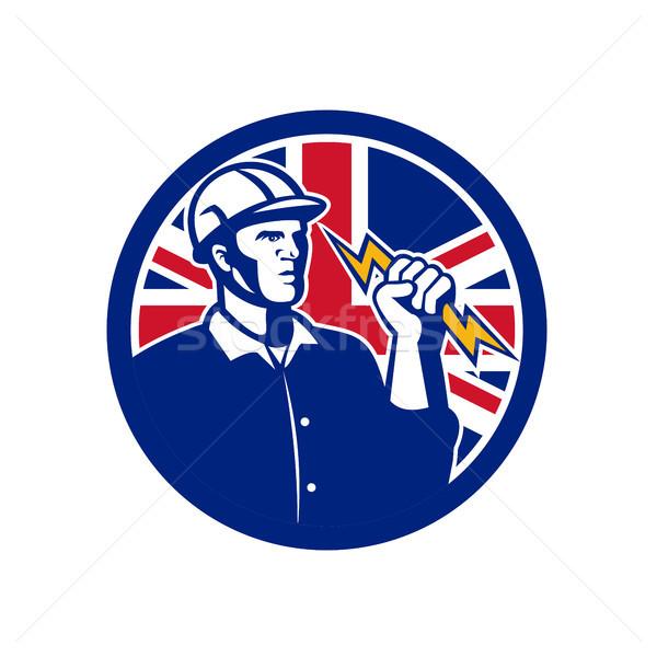 Brit erő brit zászló zászló ikon retró stílus Stock fotó © patrimonio