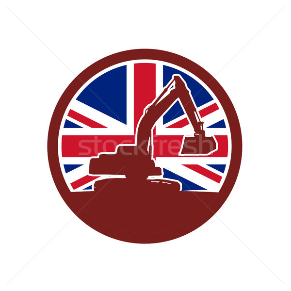 Brits mechanisch union jack vlag icon retro-stijl Stockfoto © patrimonio