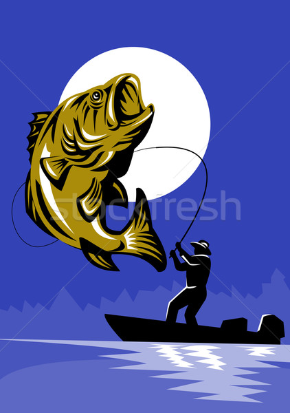 Largemouth Bass Fish Fly Fisherman Fishing rod Stock photo © patrimonio