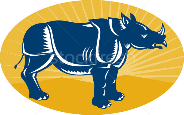 rhinoceros side view woodcut Stock photo © patrimonio