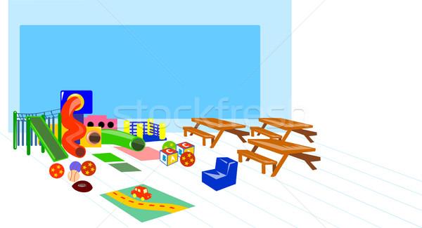 Speeltuin picknicktafel illustratie spelen grond auto Stockfoto © patrimonio