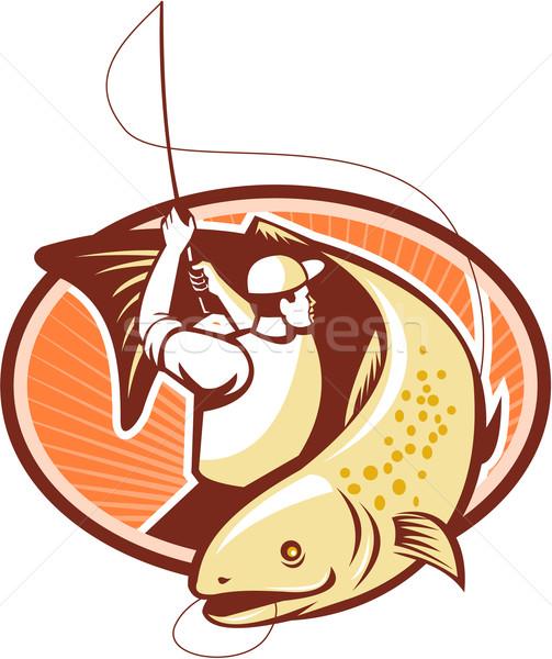 Latać rybaka pstrąg ryb retro ilustracja Zdjęcia stock © patrimonio