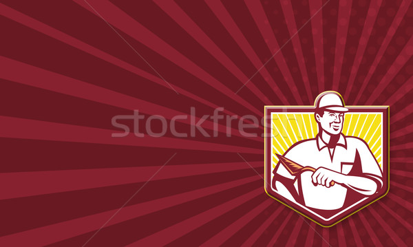 Mason kamieniarstwo pracownika retro ilustracja Zdjęcia stock © patrimonio
