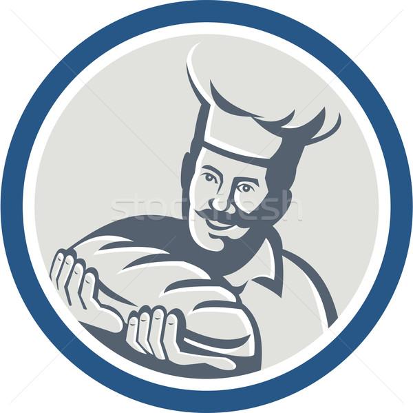 パン ホールド パン ローフ レトロな サークル ストックフォト © patrimonio