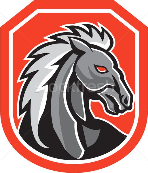 Horse Head Shield Retro Stock photo © patrimonio