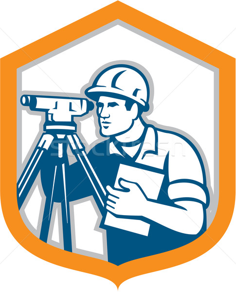 Surveyor Geodetic Engineer Survey Theodolite Shield Retro Stock photo © patrimonio