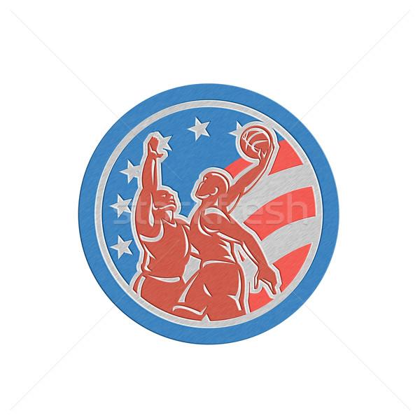 Metallic American Basketball Player Dunk Block Circle Retro Stock photo © patrimonio