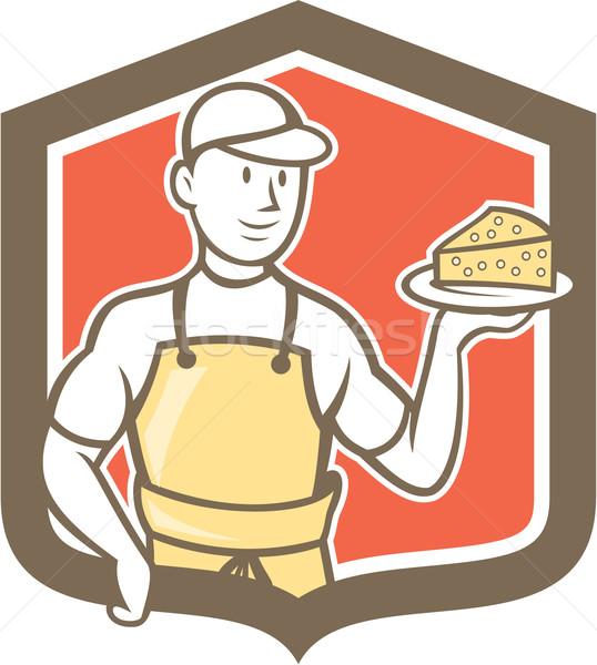 Parmesan peyniri karikatür örnek ayakta plaka Stok fotoğraf © patrimonio