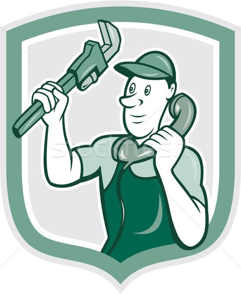 Plumber Monkey Wrench Telephone Shield Cartoon Stock photo © patrimonio