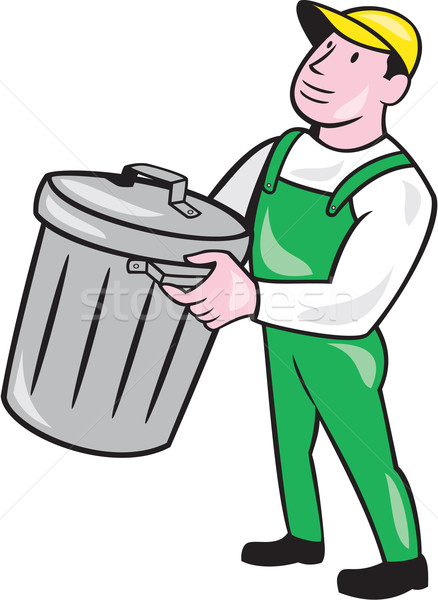 Garbage Collector Carrying Bin Cartoon Stock photo © patrimonio