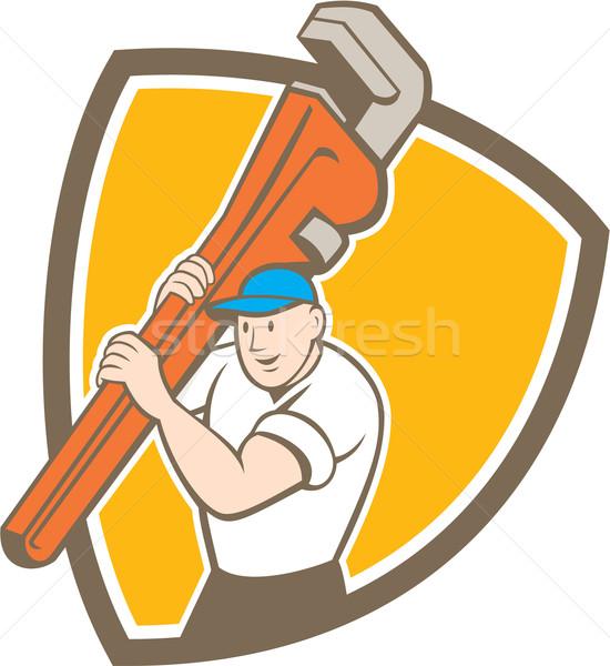 Plumber Carrying Monkey Wrench Shield Cartoon Stock photo © patrimonio