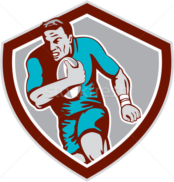 Rugby Player Running Ball Shield Retro Stock photo © patrimonio