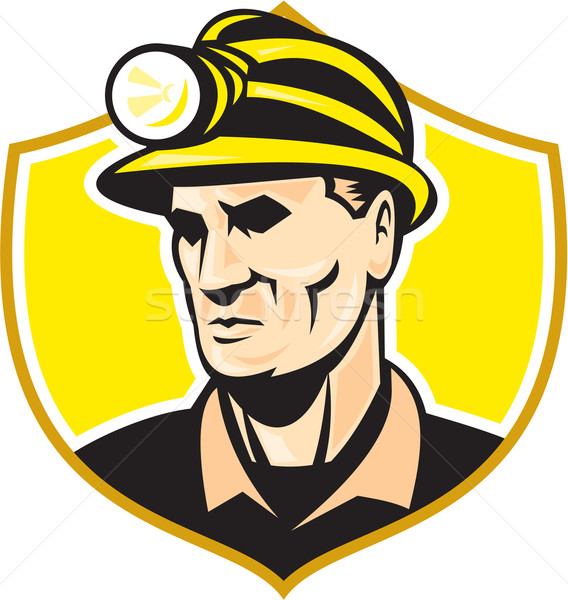 Miner With Hardhat Helmet Shield Retro Stock photo © patrimonio