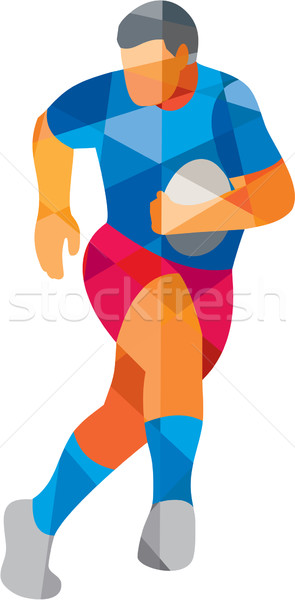 Rugby Player Running Low Polygon Stock photo © patrimonio