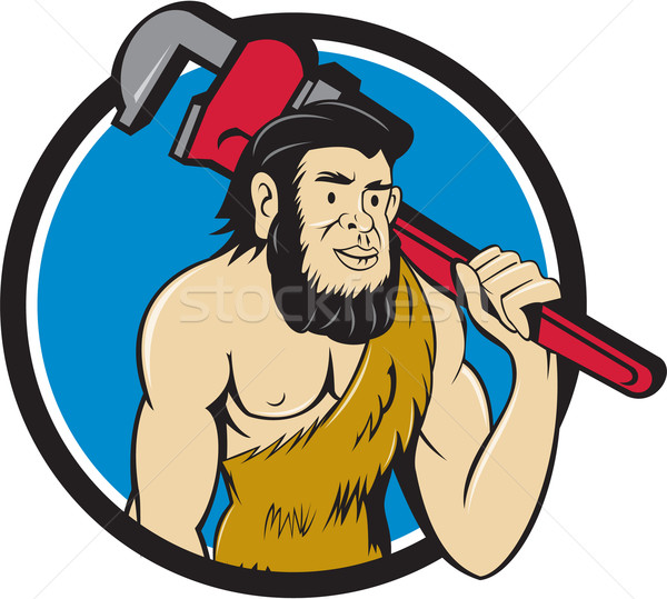 Neanderthal CaveMan Plumber Monkey Wrench Circle Cartoon Stock photo © patrimonio