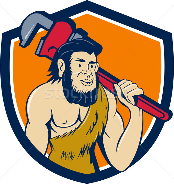 Neanderthal CaveMan Plumber Monkey Wrench Shield Cartoon Stock photo © patrimonio
