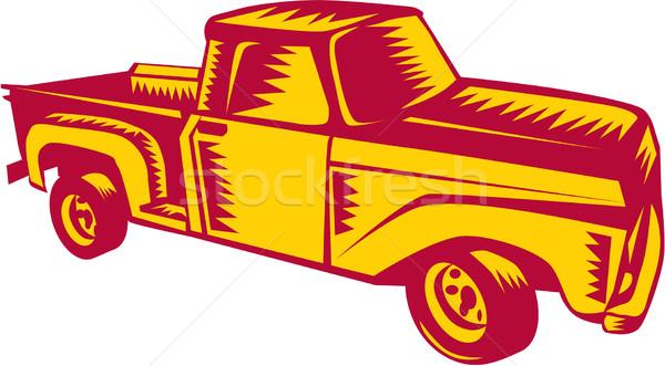 Vintage Pick Up Truck Woodcut Stock photo © patrimonio