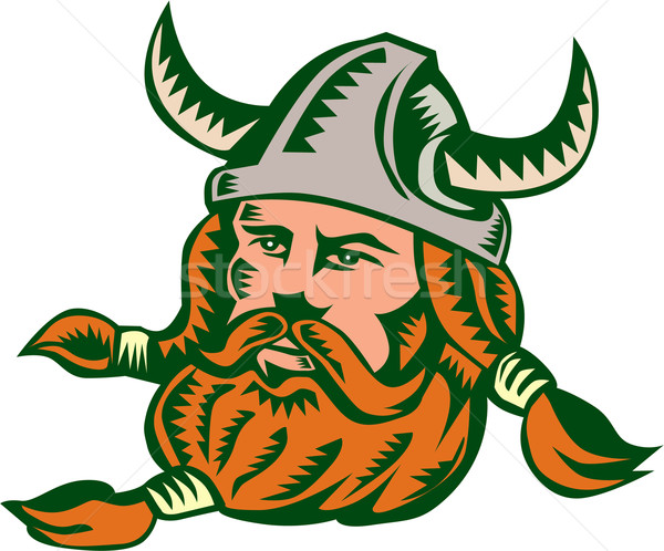 Viking Warrior Head Woodcut Stock photo © patrimonio