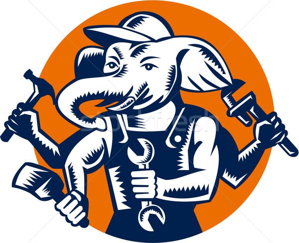 Elephant Builder Plumber Mechanic Painter Circle Retro Stock photo © patrimonio