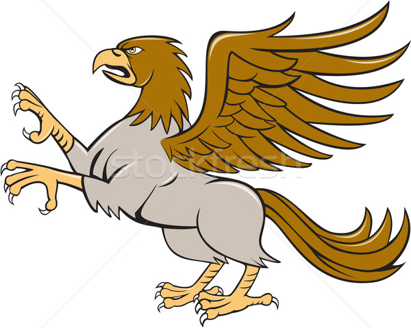 Hippogriff Prancing Side Isolated Cartoon Stock photo © patrimonio