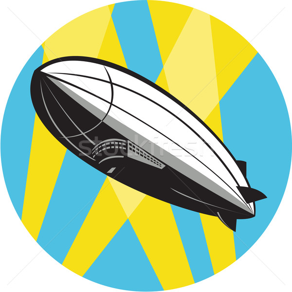 Stock photo: Zeppelin Blimp Flying Overhead Circle Retro