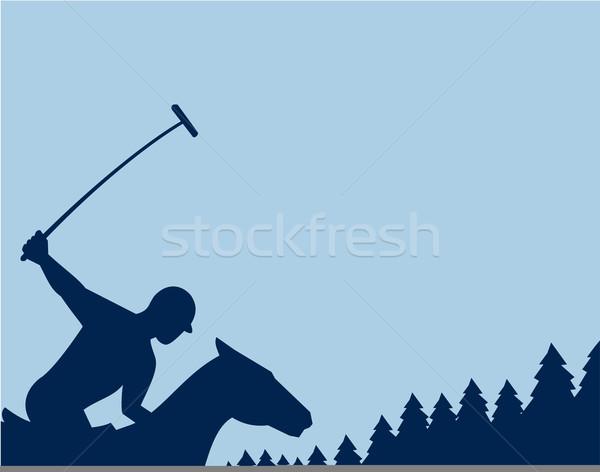 Polo Player Riding Horse Trees Square Retro Stock photo © patrimonio
