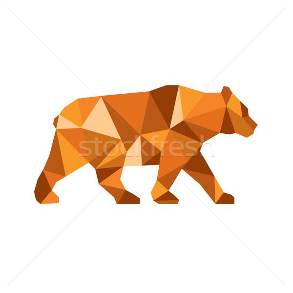 Noir ours côté faible polygone Photo stock © patrimonio