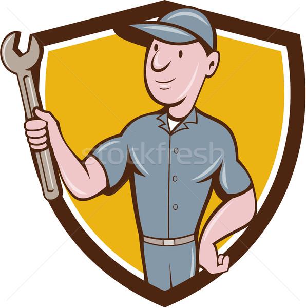 Ezermester tart csavarkulcs címer rajz illusztráció Stock fotó © patrimonio
