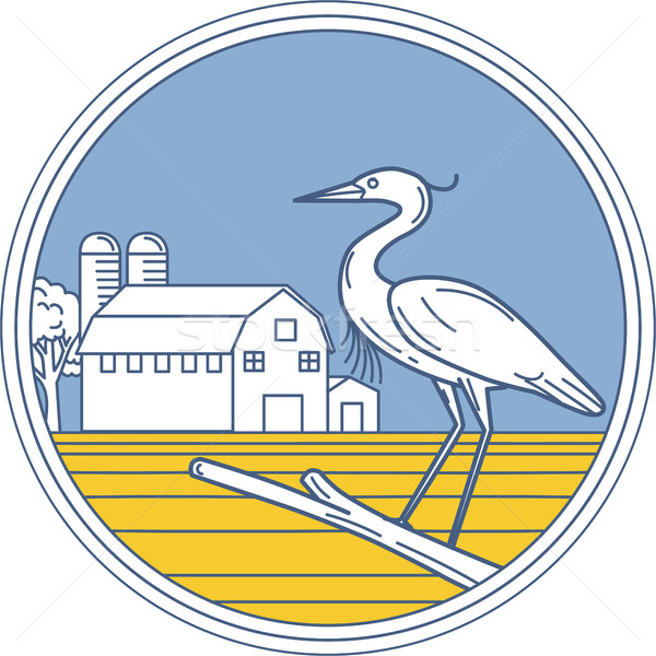 Great Blue Heron Farm Barn Circle Retro Stock photo © patrimonio