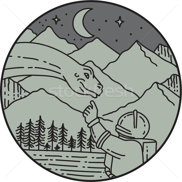 Astronaut Touching Brontosaurus Circle Mono Line Stock photo © patrimonio