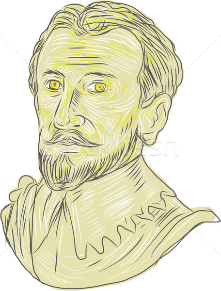 Stock photo: 15th Century Spanish Explorer Bust Drawing
