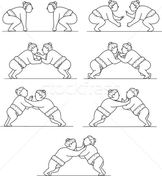 Rikishi Sumo Wrestlers Wrestling Mono Line Collection Set Stock photo © patrimonio