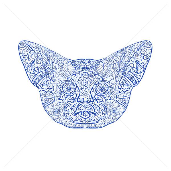 Róka fej mandala illusztráció elöl kilátás Stock fotó © patrimonio
