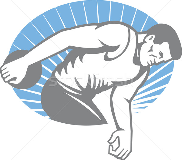 Athlete Discus Throw Retro Stock photo © patrimonio