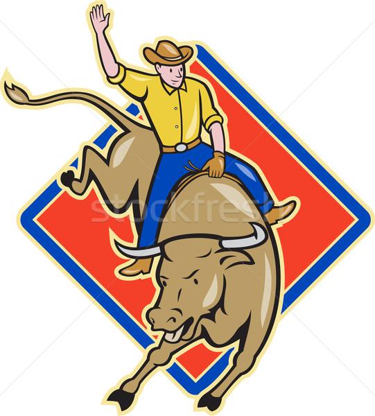 Rodeo Cowboy Bull Riding Cartoon Stock photo © patrimonio