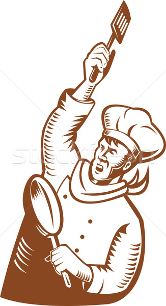 chef cook baker holding frying pan and spatula Stock photo © patrimonio