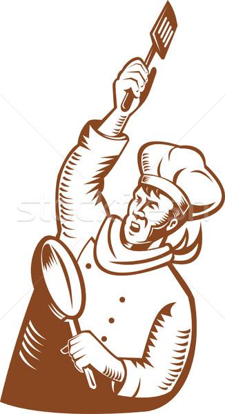 Chef cuoco Baker padella spatola Foto d'archivio © patrimonio
