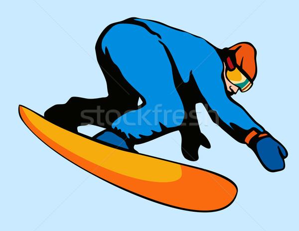 Snowboard aire ilustración persona estilo retro hombre Foto stock © patrimonio