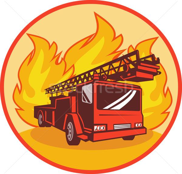 Wóz strażacki silnika urządzenie płomienie ilustracja zestaw Zdjęcia stock © patrimonio