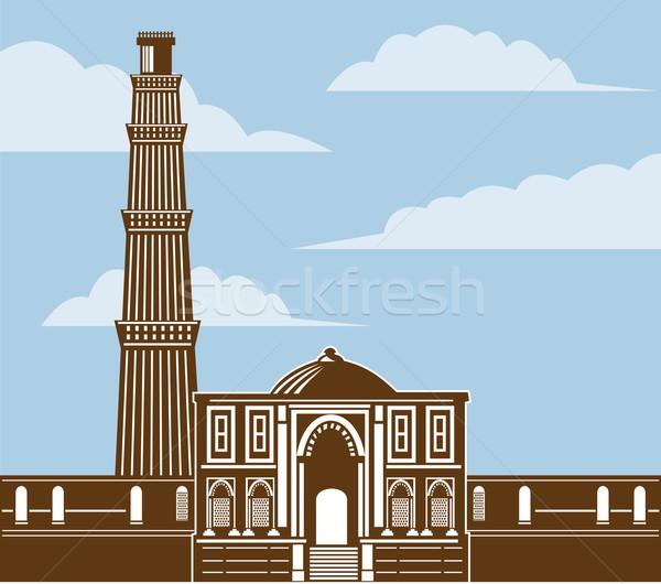 Torony Delhi India retró stílus illusztráció Stock fotó © patrimonio