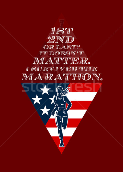 Amerikai női maraton futó retro poszter Stock fotó © patrimonio