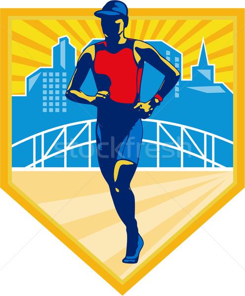 Triathlete Marathon Runner Retro Stock photo © patrimonio