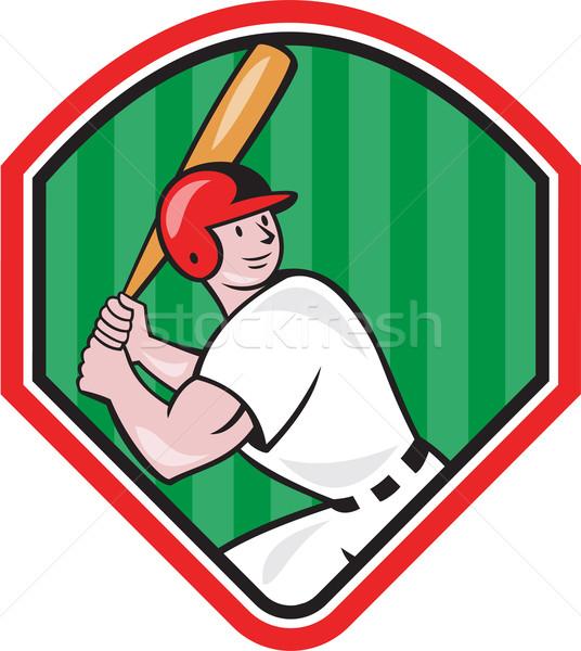 American Baseball Player Bat Diamond Cartoon Stock photo © patrimonio