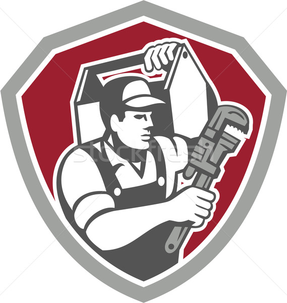 Plumber Carry Toolbox Wrench Shield Retro Stock photo © patrimonio
