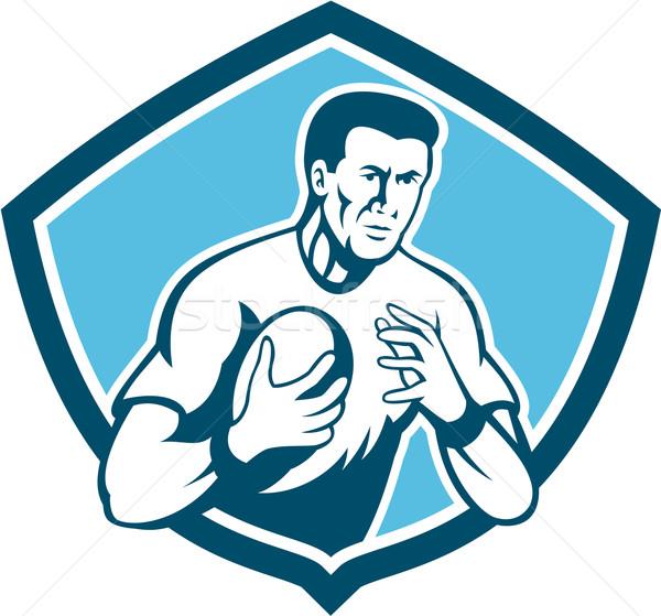 Rugby Player Running Ball Shield Cartoon Stock photo © patrimonio