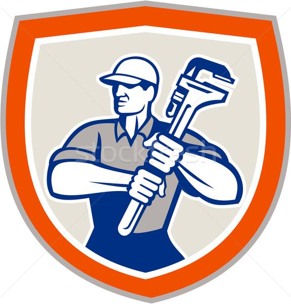 Plumber Holding Giant Monkey Wrench Shield  Stock photo © patrimonio