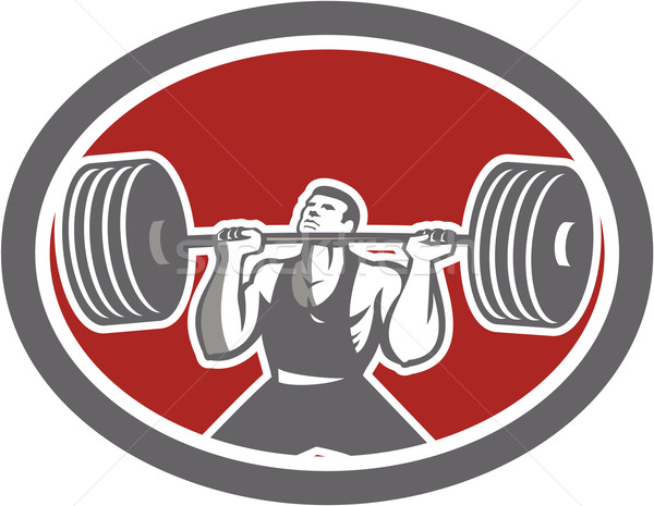 Weightlifter Lifting Barbell Front Oval Retro Stock photo © patrimonio