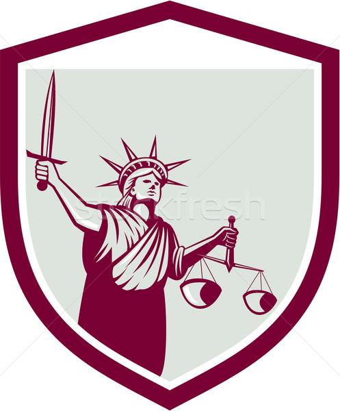 статуя свободы меч Весы правосудия Сток-фото © patrimonio