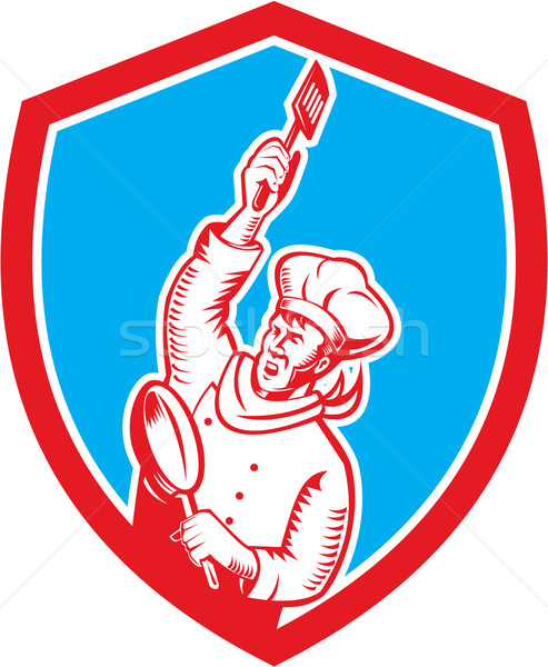 Chef Cook Holding Spatula Frying Pan Shield Woodcut Stock photo © patrimonio