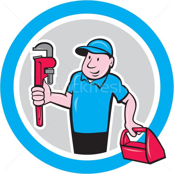 Loodgieter aap sleutel toolbox cartoon illustratie Stockfoto © patrimonio